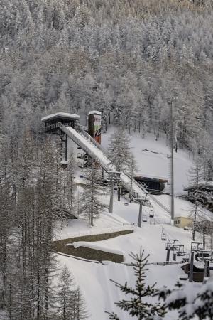 springboard: trampol�n de saltos de esqu� en Pragelato Piemonte Italia