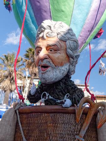 VIAREGGIO, ITALY - FEBRUARY 23:   allegorical float of Beppe Grillo at Viareggio Carnival held February 23, 2014