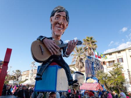 VIAREGGIO, ITALY - FEBRUARY 23:   allegorical float of italian singer Giorgio Gaber at Viareggio Carnival held February 23, 2014