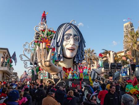 VIAREGGIO, ITALY - FEBRUARY 23:   allegorical float of John Lennon at Viareggio Carnival held February 23, 2014