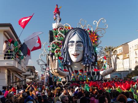 VIAREGGIO, ITALY - FEBRUARY 23    allegorical float of John Lennon at Viareggio Carnival held February 23, 2014