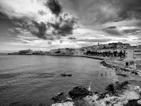 beatiful panoramic view of the city of Vieste Gargano Apulia Italy Stock Photo
