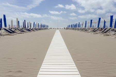 viareggio: landscape of the beaches of Viareggio in Versilia Italy