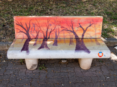 VIAREGGIO, ITALY - July 23:   Paintings on benches during the summer events held in Viareggio  July 23, 2013