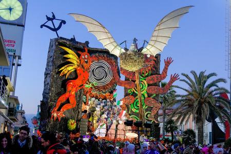 VIAREGGIO, ITALY - February 7:   parade of allegorical chariot at Viareggio Carnival held February 7, 2010