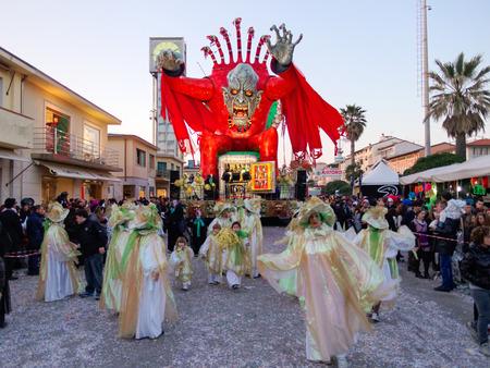 VIAREGGIO, ITALY - FEBRUARY 23:   allegorical float of the net at Viareggio Carnival held February 23, 2014