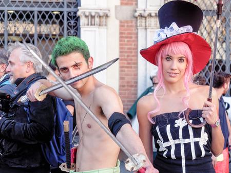 avenger: Lucca, Italia - 11 de noviembre: personajes m�scaras de dibujos animados en Lucca Comics celebradas 01 de noviembre 2014 Editorial