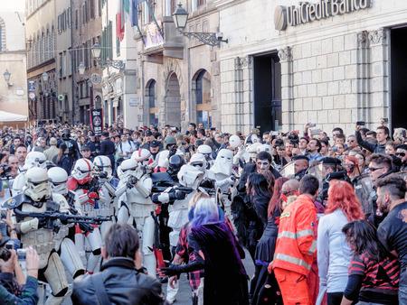 lucca: LUCCA, ITALY - November 11:   masks cartoon characters at Lucca Comics held November 01, 2014