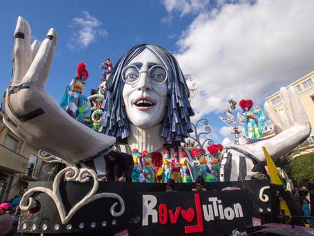 allegorical: VIAREGGIO, ITALY - FEBRUARY 23:   allegorical float of John Lennon at Viareggio Carnival held February 23, 2014