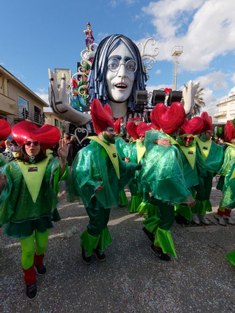 in particular: VIAREGGIO, ITALY - FEBRUARY 23:   allegorical float at Viareggio Carnival held February 23, 2014 Editorial