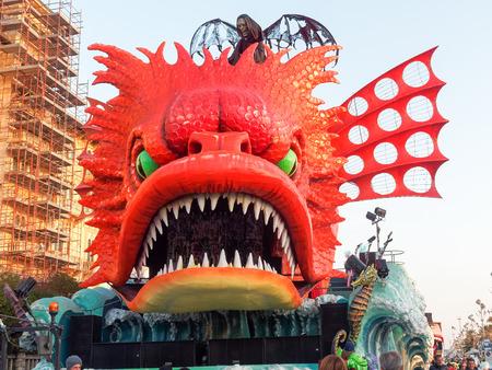 VIAREGGIO, ITALY - March 12:   allegorical float  at Viareggio Carnival held March 12, 2016