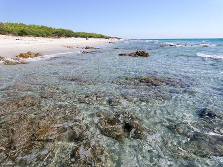 Landscape of Bidda Rosa beach in sardinia Italy