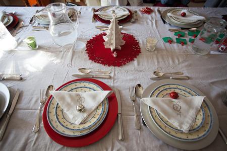 table set for Christmas dinner on 24 December