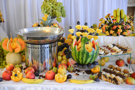 Delicious fruits arrangements for wedding reception and similar events Stock Photo
