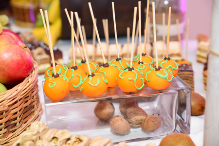 Restaurant sweets arrangements for wedding reception or similar events