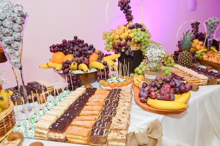 Restaurant sweets arrangements for wedding reception or similar events