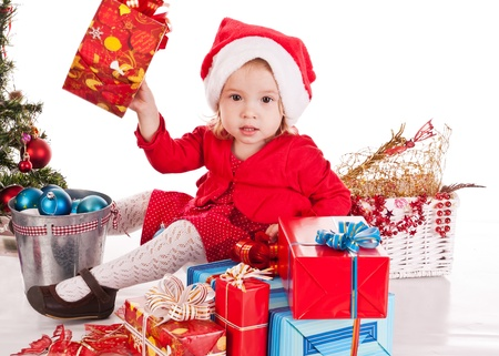 Santa helper  girl with gift photo
