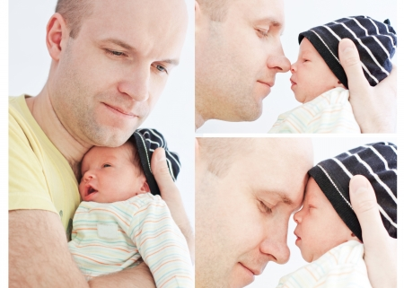 happy father with newborn son on a white background (collage) Stock Photo