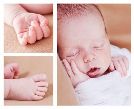 cute newborn baby boy sleeping (collage)