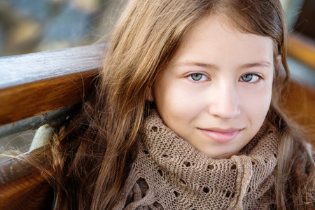 youngsters: portrait of a girl 13 years outdoors Stock Photo