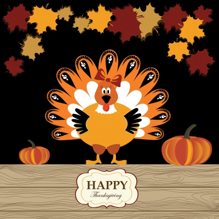 Beautiful turkey with pumpkin and red maple Vector