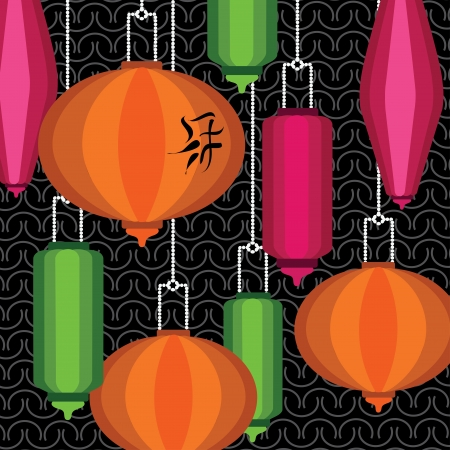 Pattern with colorful chinese lantern Vector
