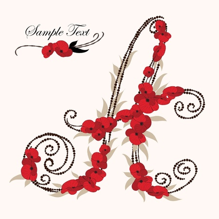 different types: A, hand drawn flower alphabet  Illustration