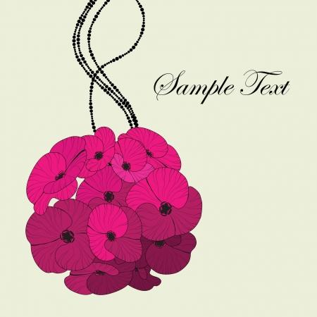 Pink flower bouquet card Stock Vector - 15757796