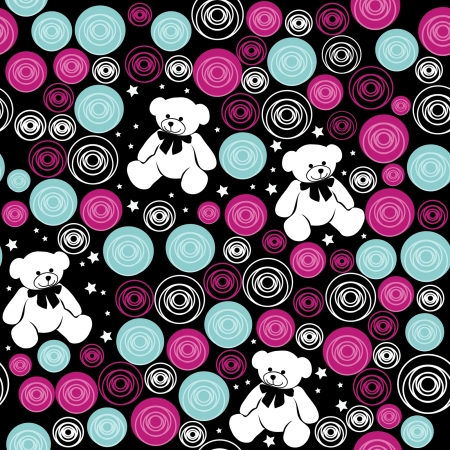 happy birthday girl: Seamless pattern Teddy bears, elements for scrapbook, greeting cards, Valentine