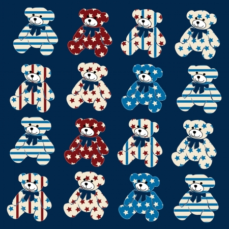 Teddy bears, elements for scrapbook, greeting cards, Valentine Vector