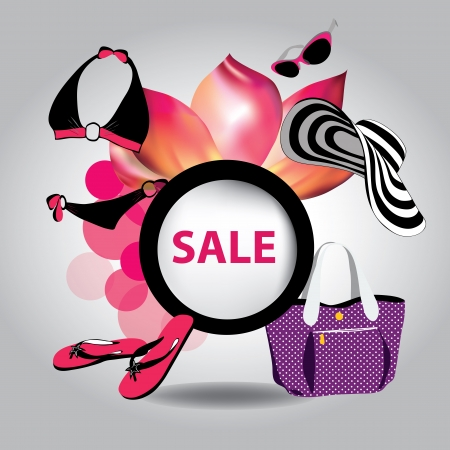 illustration of big sale poster with fashion elements Vector