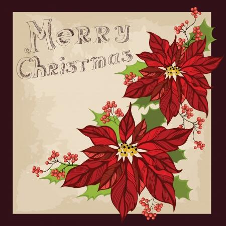 retro postcard: Retro Christmas greeting card with flower Illustration