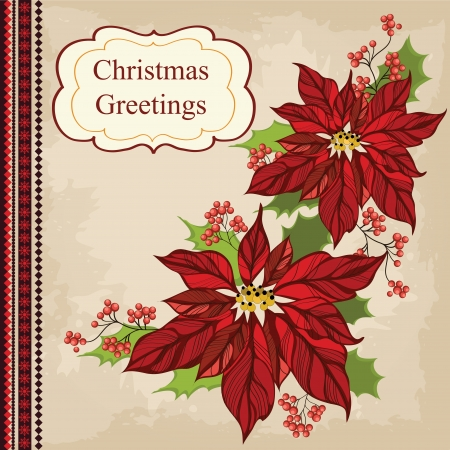old fashioned christmas: Retro Christmas greeting card with flower Illustration