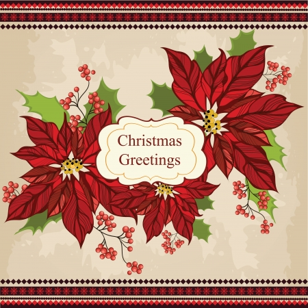 christmas x mas: Retro Christmas greeting card with flower Illustration