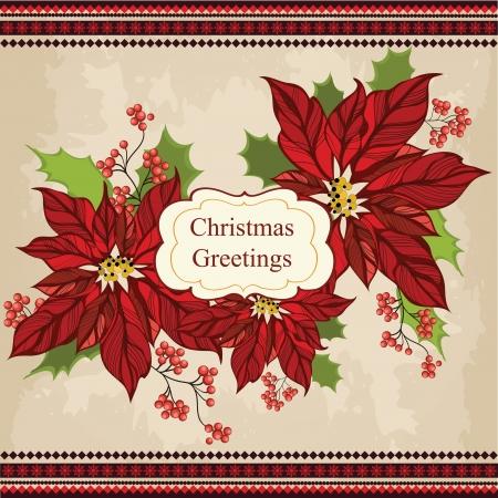 flor de pascua: Retro Navidad tarjeta de felicitación con la flor