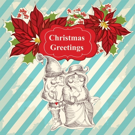 Christmas greeting card with Santa Claus Cartoon and his girlfriend Vector