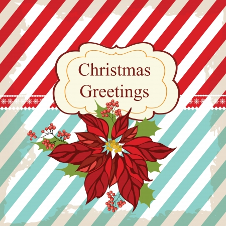 Retro Christmas greeting card with flower Stock Vector - 16212145