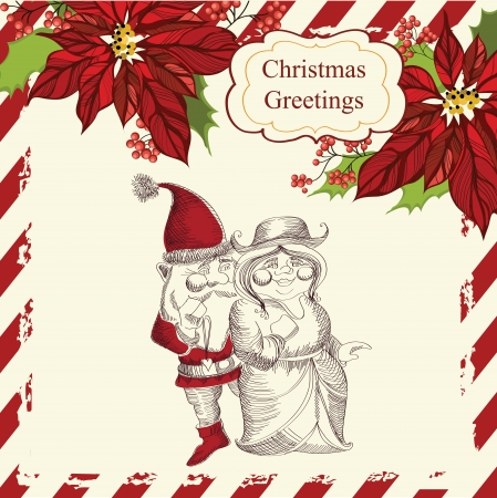 Christmas  vector illustration with Santa Claus and his girlfriend Vector