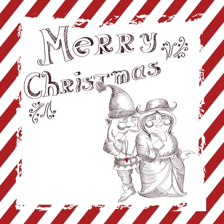Christmas  vector illustration with funny Santa Claus and his girlfriend Vector