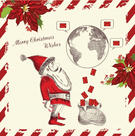 Christmas  greeting card  with funny Santa Claus Vector