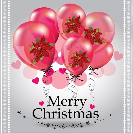 Christmas background with pink balloons Stock Vector - 16212102