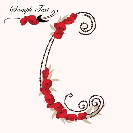 rose: C, hand drawn flower alphabet  Illustration