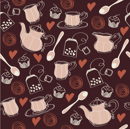 Seamless sweet tea pattern Vector