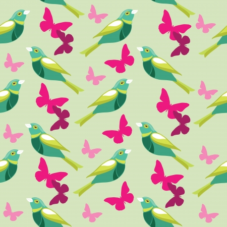 Seamless pattern with butterfly and birds Stock Vector - 17087036