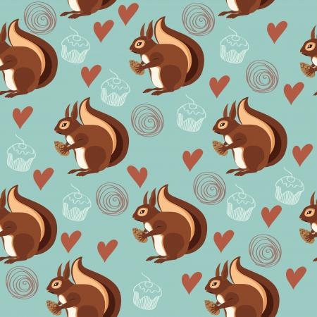 Naadloos patroon met eekhoorns en noten