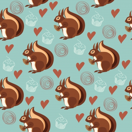 fall in love: Seamless pattern with squirrels and nuts