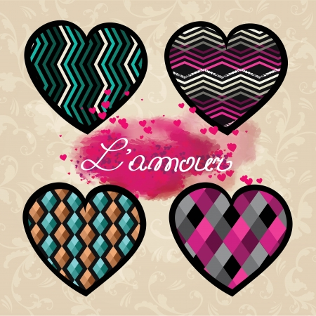 Set of valentine hearts  illustration Stock Vector - 17087141