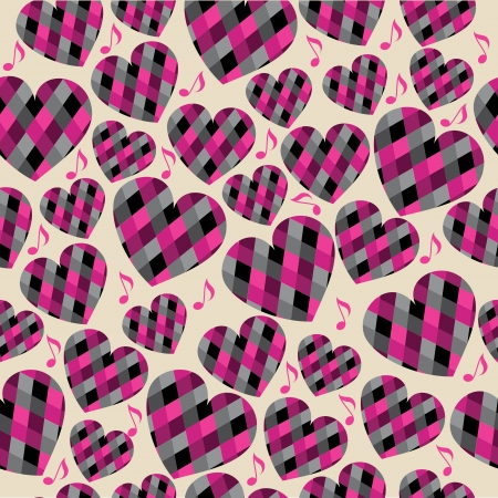 Pink  hearts, seamless pattern Stock Vector - 17087034
