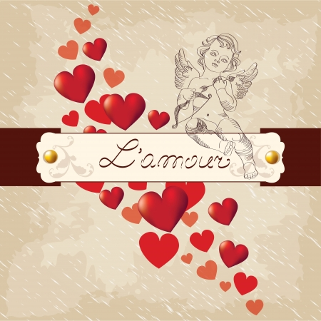 Valentines Day, amour with red hearts Vector
