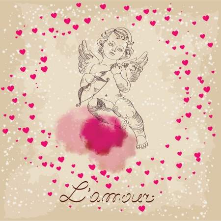 Valentines Day, amour with little pink hearts Vector